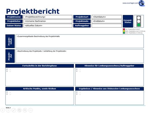 Gratis Vorlage, Projektstatusbericht, Statusbericht, Projekt Reporting, Stand der Dinge