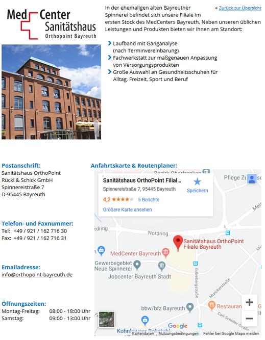 Sanitätshaus OrthoPoint in Bayreuth mit Ganganalyse