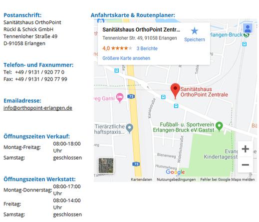 Kontakt Sanitätshaus OrthoPoint Erlangen