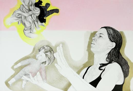 Selbst mit Puppen, 2007/18. (Tuschestift / Farbstift / Pastell / Papier, 50 x 70 cm)