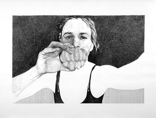 Selbst mit Paprika, 2006. (Tuschestift / Papier, 50 x 65 cm)
