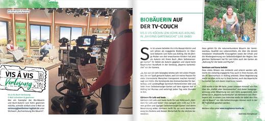 """Veröffentlichung in der Vis á Vis Heimatmagazin- Merkur, No. 37 vom Juli/August 2021 """"Biobäuerin auf der TV-Couch"""""""
