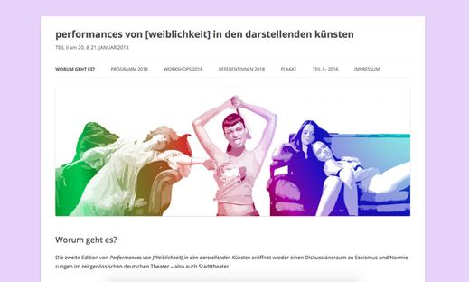 """Das Bild zeigt einen Screenshot der Website """"Performances von Weiblichkeit"""" der UdK Berlin. Zu sehen ist eine Fotocollage von performenden Künstlerinnen*"""