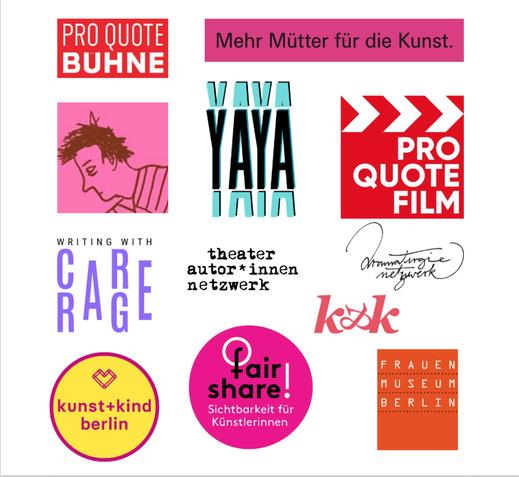 Das Bild zeigt die Logos von Pro Quote Bühne, YAYA, Pro Quote Film, Writing with CARE/RAGE, theater autor*innen netzwerk, dramaturgie netzwerk, kunst+kind, faire share, k&k, frauenmuseum berlin