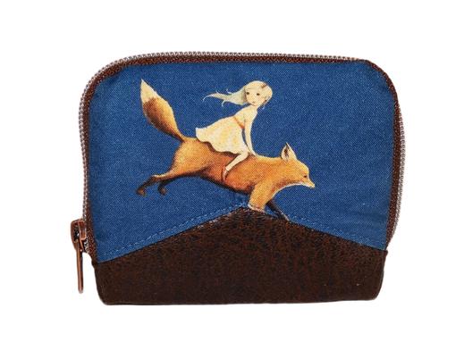 Mini portefeuille zippé pour femme en tissu bleu marine avec des enfants et  des  animaux,  faux-cuir marron,  porte-cartes élégant original