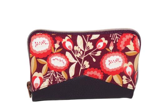 portefeuille femme zippé compact fermeture éclaire taille moyenne faux cuir aubergine tissu prune fleurs rouges corail caramel