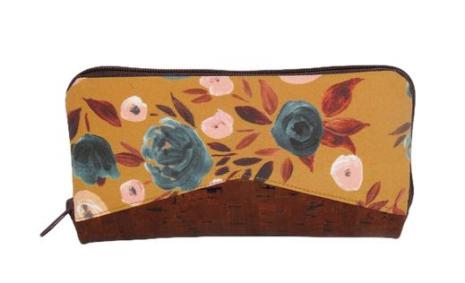 grand portefeuille zippé femme original pratique tissu jaune ocre moutarde liege marron