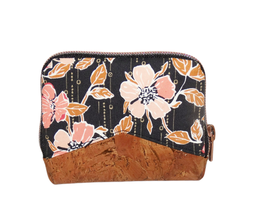 Mini portefeuille zippé pour femme en tissu noir avec des fleurs roses, liège marron avec éclat cuivré, porte-cartes élégant original