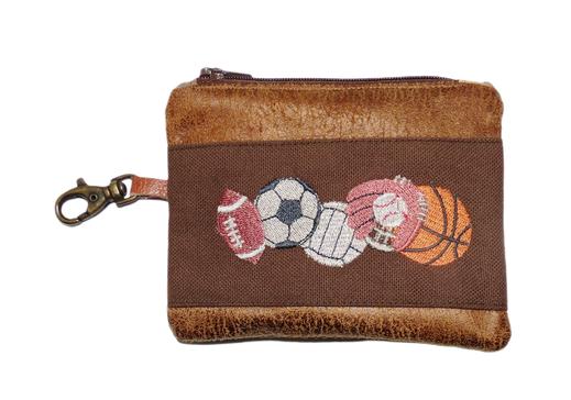 Petit porte-monnaie homme mousqueton faux cuir camel  toile marron  porte-clés broderie sports américains  ballon balle vintage