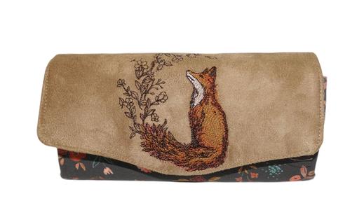 grand portefeuille femme compagnon fabrication artisanale en France fait-main renard 2 compartiments zippés porte-cartes suédine faux cuir