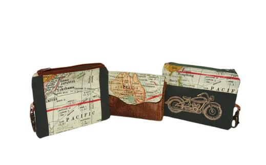 porte-monnaie homme carte mappemonde globe mousqueton porte-clé