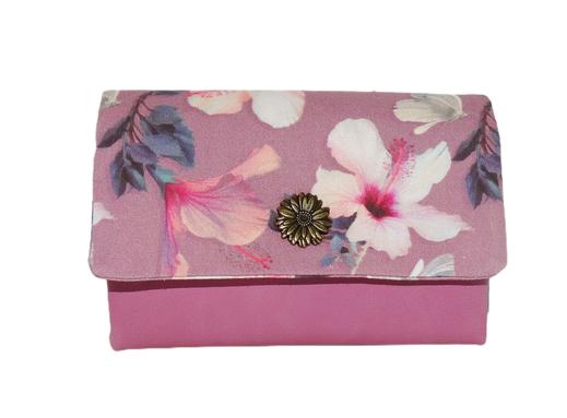 portefeuille compact femme cuir violine mauve clair tissu parme hibiscus porte-cartes original fonctionnel cadeau pour elle maman