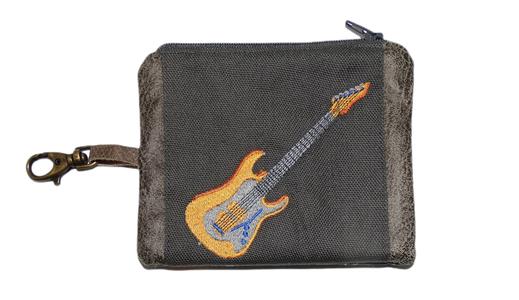 petit porte-monnaie homme mousqueton porte-clés broderie guitare musique toile faux cuir gris