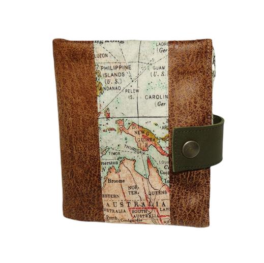 Petit portefeuille fin homme toile de coton kaki tissu mappemonde carte voyage aventure géographie  porte-cartes 2 volets