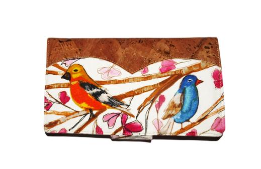 porte-chéquier protection étui chéquier horizontal classique oiseau liège