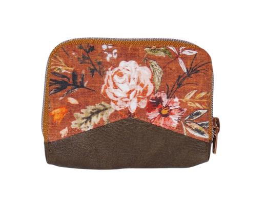 Mini portefeuille zippé pour femme en tissu rouille avec des fleurs , faux cuir kaki, porte-cartes élégant original
