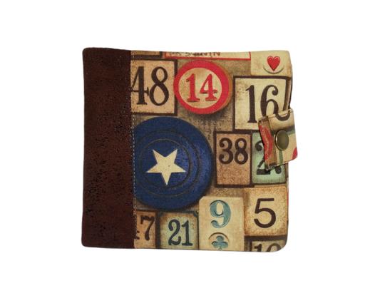 Portefeuille  homme original  faux cuir vieilli marron tissu vintage jetons casino  8  porte-cartes  3 volets porte-monnaie rétro