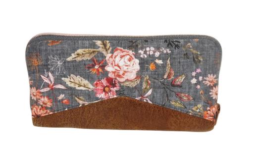 Grand portefeuille femme fermeture zippée, en faux-cuir camel et tissu gris fleuri ,automnal, fleurs romantiques, 14 porte-cartes