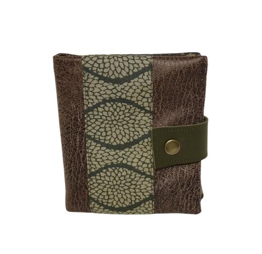 Petit portefeuille compact homme, couleurs de la  nature faux cuir  marron taupe  tissu kaki vert motif végétal 2 volets