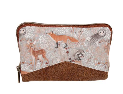 Portefeuille zippée compact femme en faux cuir camel et  tissu gris clair avec des   animaux de la forêt, biche, renard