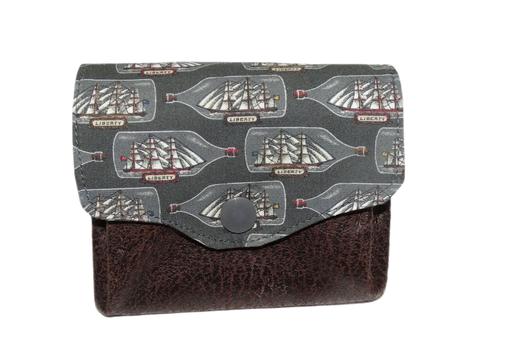 petit porte-monnaie accordéon tissu Liberty voilier faux cuir marron 3 compartiments porte-cartes