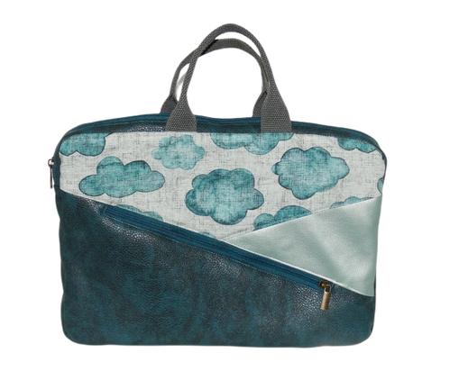 Sacoche pour ordinateur 13 pouces femme en faux cuir bleu pétrole, similicuir vert  , tissu gris avec nuages, protection matériel informatique
