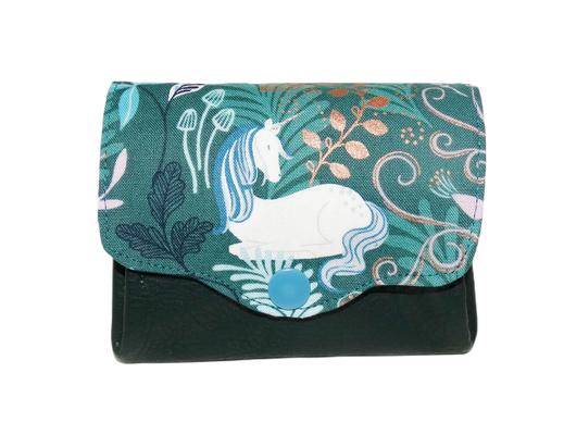 Porte-monnaie femme accordéon 3 compartiments porte-cartes tissu gris immeubles maisons ville Paris faux-cuir rose similicuir