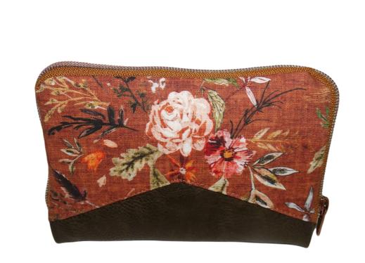 Portefeuille femme fermeture zippée, en faux cuir kaki et tissu rouille fleuri , couleurs automnales fleurs romantiques, 9 porte-cartes