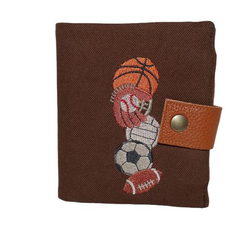 Petit portefeuille compact  homme toile marron  broderie  sports américains 6 porte-cartes  3 volets football basket baseball vintage