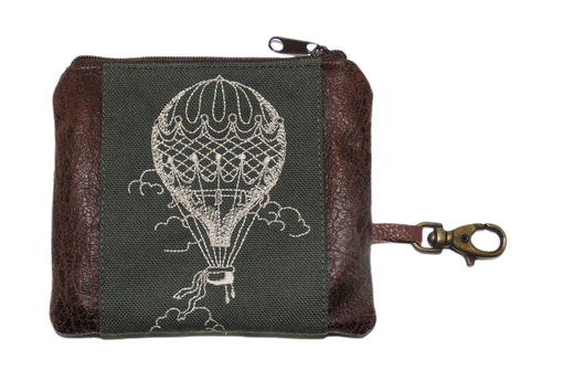 Petit porte-monnaie homme  brodé toile coton kaki porte-clé mousqueton  broderie montgolfière pratique  voyage aventure