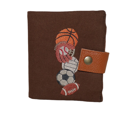 Petit portefeuille compact homme 3 volets 6 porte-cartes porte-billet cuir marron broderie sports américain football basket volley baseball