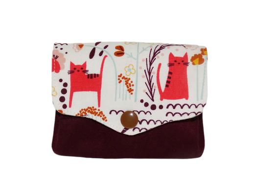 Porte-monnaie femme accordéon 3 compartiments porte-cartes tissu blanc avec chats suédine aubergine  mignon