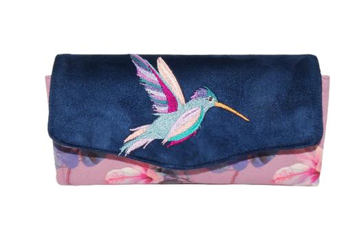 grand compagnon femme suédine bleu marine tissu mauve hibiscus broderie oiseau colibri coloré bohème