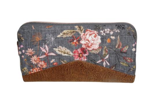 grand compagnon femme à fermeture éclair liège bordeaux rouge tissu anthracite petites fleurs porte-cartes porte-photos original pratique fonctionnel cadeau femme