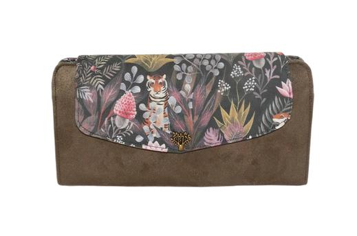 grand portefeuille plat slim pour femme suédine faux cuir similicuir tissu original pratique