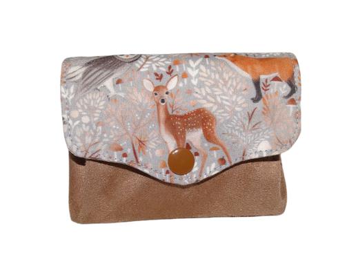 Porte-monnaie femme accordéon 3 compartiments porte-cartes tissu gris biche renard animaux de la forêt mignon