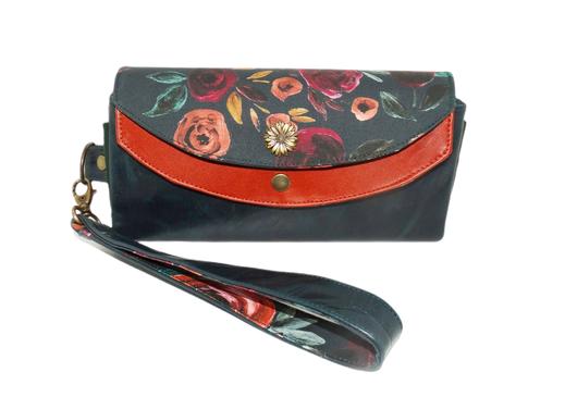 grand portefeuille pochette clutch cuir vert anglais  rouille fleurs floral port-chéquier