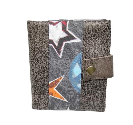 portefeuille homme compact 2 volets faux cuir gris étoile porte-cartes cadeau Noël