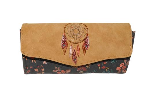 Grand portefeuille brodé femme, suédine orange tissu gris  grandes fleur broderie lama  alpaga cadeau