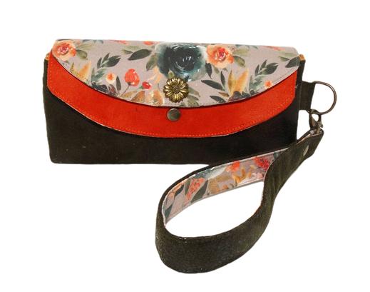 Grand portefeuille femme pochette double rabat suédine orange faux-cuir kaki  tissu fleurs sauvages dragonne amovible porte-chéquier