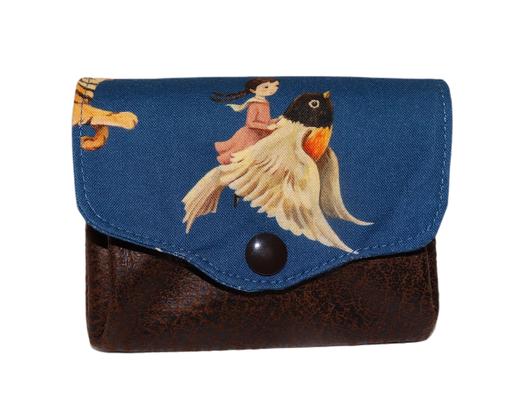 Porte-monnaie femme accordéon 3 compartiments porte-cartes tissu bleu fille oiseau renard faux cuir marron