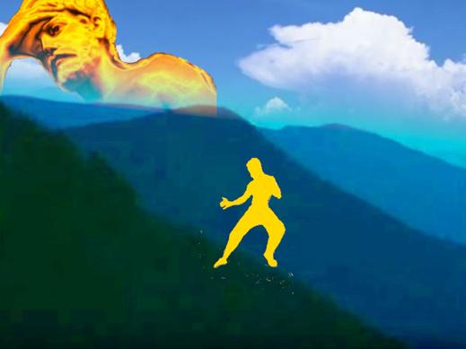 Dieses Bild zeigt einen Karatekämpfer in einer Landschaft mi blauen Bergen. Im Hintergrund schaut eine Göttergestalt nachdenklich zu.  Das Thema: Fitness, Wellness, Gesundheit - die Unterschiede.