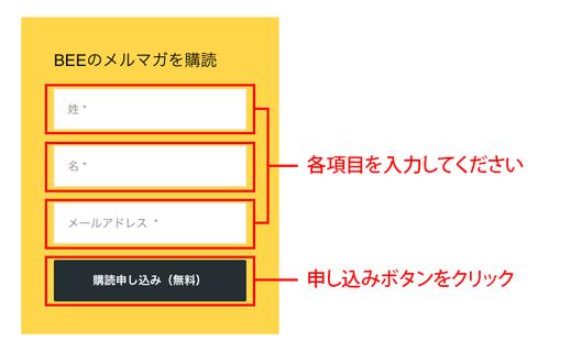 1.登録情報を入力してボタン『購読申し込み(無料)』をクリックします。1)各項目を入力 2)申し込みボタンをクリック