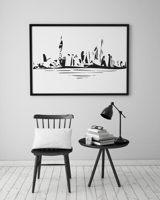 Illustration - schwarz-weiß - Stadt - Skyline Shanghai