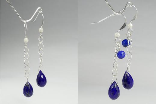 Boucles d'oreilles Lapis lazuli d'Afghanistan, pierre fine et précieuse naturelle