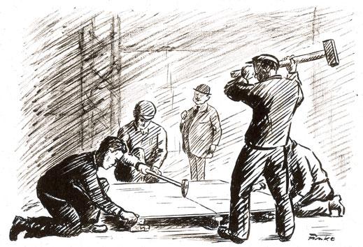 """Trennen der Stahlplatten (Quelle: """"50 Jahre RAW, 50 Jahre Arbeiterbewegung"""", Zwickau, 1958)"""