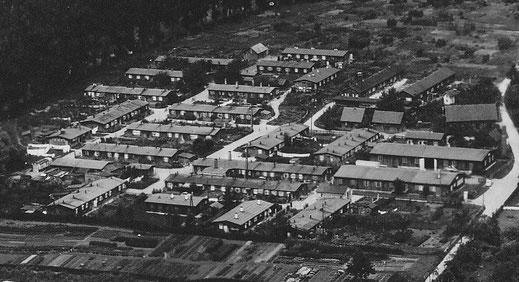 Foto vom Mühlwiesenlager von 1954 (neun Jahre nach Befreiung der Zwangsarbeiter), Quelle: Stadtarchiv Nürtingen, Nr. 1700A