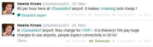 Der Flughafen Düsseldorf wurde aus berufenem Munde gescholten: Neelie Kroes, EU-Kommissarin für die Digitale Agenda, findet es unerhört, dass man im Jahr 2014 am Flughafen für WLAN noch zahlen muss.
