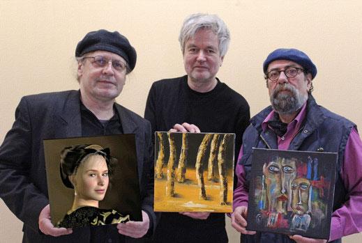 """Die drei Künstler Marcus Löhrer, Heinrich Hüsch und Ibrahim Alawad auf der Ausstellung """"terrathree"""" in der Galerie Frutti dell'Arte in Aachen, vertreten auf der Aachener Kunstroute 2016"""