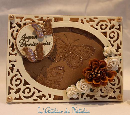 Carte Anniversaire Papillons et fleurs-L'Atelier de Natalie